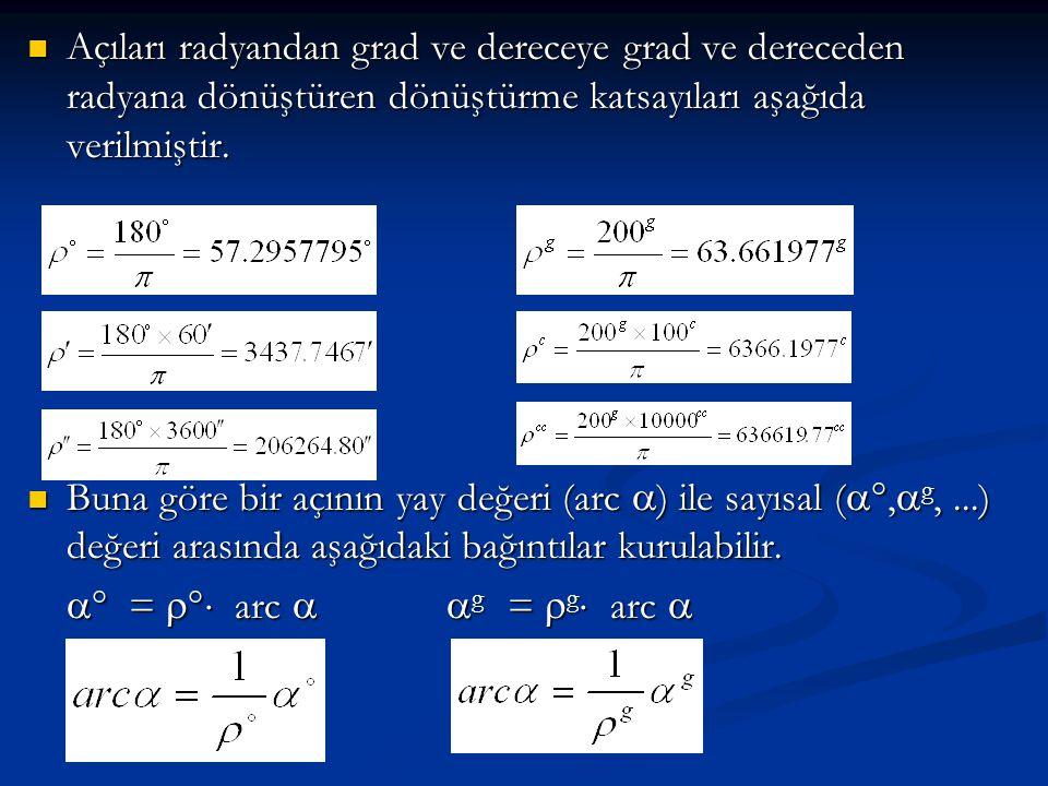  Açıları radyandan grad ve dereceye grad ve dereceden radyana dönüştüren dönüştürme katsayıları aşağıda verilmiştir.  Buna göre bir açının yay değer