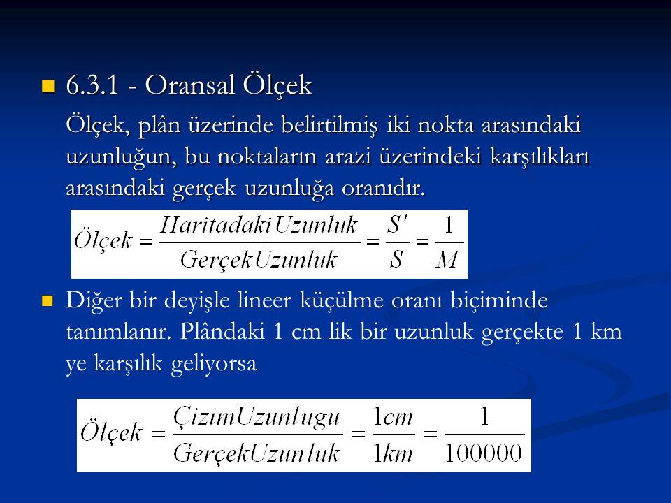 6.3.1 - Oransal Ölçek Ölçek, plân üzerinde belirtilmiş iki nokta arasındaki uzunluğun, bu noktaların arazi üzerindeki karşılıkları arasındaki gerçek