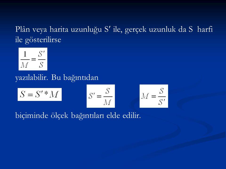 Plân veya harita uzunluğu S ile, gerçek uzunluk da S harfi ile gösterilirse yazılabilir. Bu bağıntıdan biçiminde ölçek bağıntıları elde edilir.