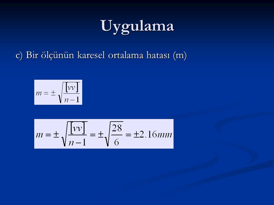 Uygulama c) Bir ölçünün karesel ortalama hatası (m)