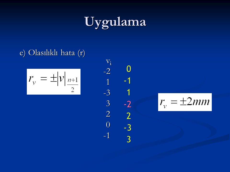 Uygulama e) Olasılıklı hata (r) 0 1-2 2-3 3 v i v i-2 1-3 3 2 0