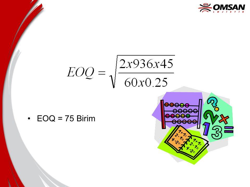 Optimize etme •Stok Taşıma Maliyetlerini Sipariş Maliyetleriyle Eşitlemek •STM = SM •Q/2 xM x S = T/Q x K •Q 2 = (2 x T x S) / (M x K)