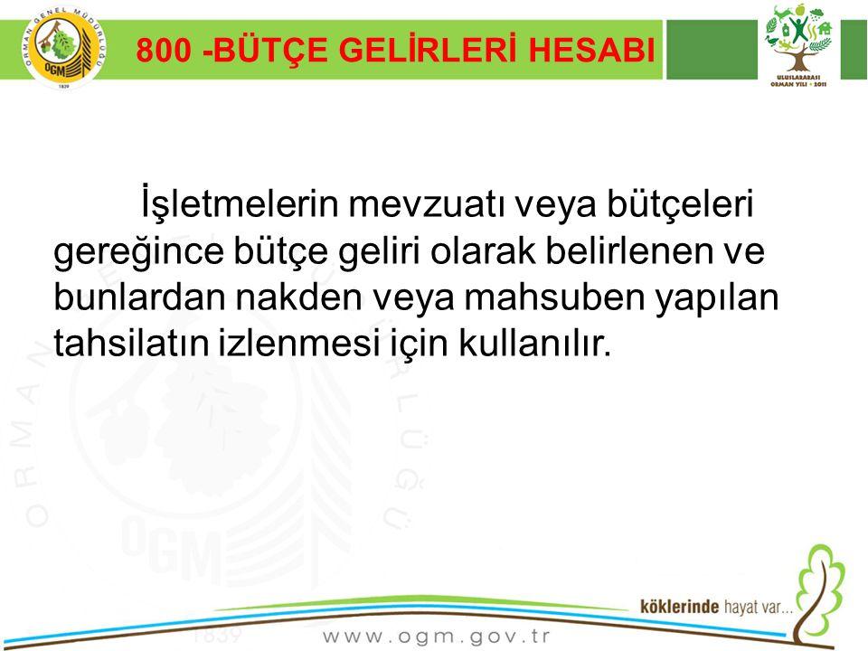 16/12/2010 Kurumsal Kimlik 4 800 -BÜTÇE GELİRLERİ HESABI İşletmelerin mevzuatı veya bütçeleri gereğince bütçe geliri olarak belirlenen ve bunlardan na