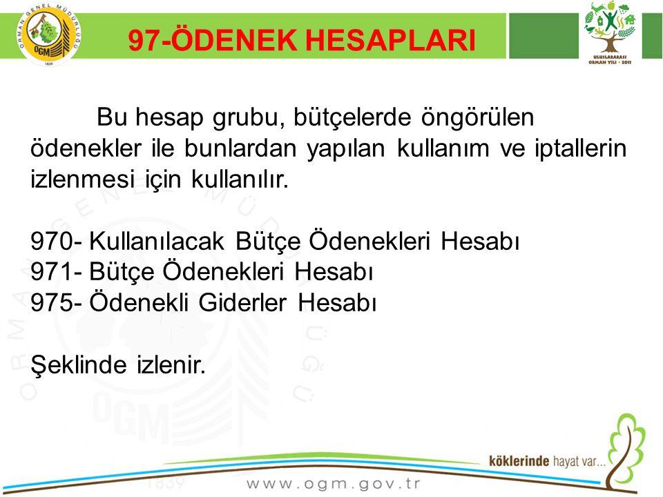 16/12/2010 Kurumsal Kimlik 42 97-ÖDENEK HESAPLARI Bu hesap grubu, bütçelerde öngörülen ödenekler ile bunlardan yapılan kullanım ve iptallerin izlenmes