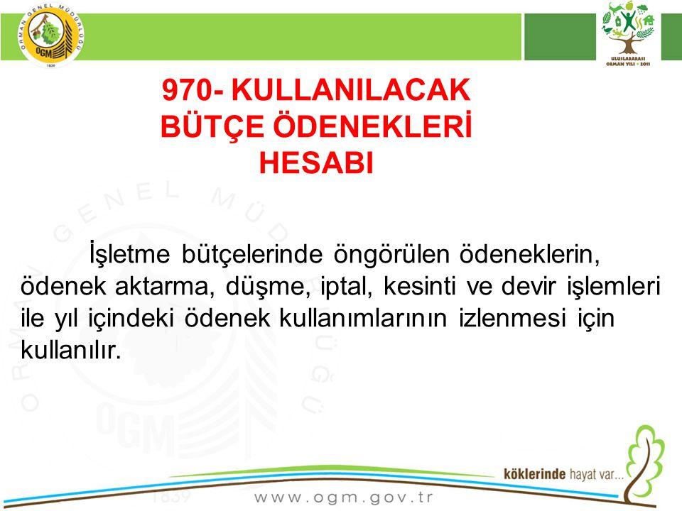 16/12/2010 Kurumsal Kimlik 44 970- KULLANILACAK BÜTÇE ÖDENEKLERİ HESABI İşletme bütçelerinde öngörülen ödeneklerin, ödenek aktarma, düşme, iptal, kesi