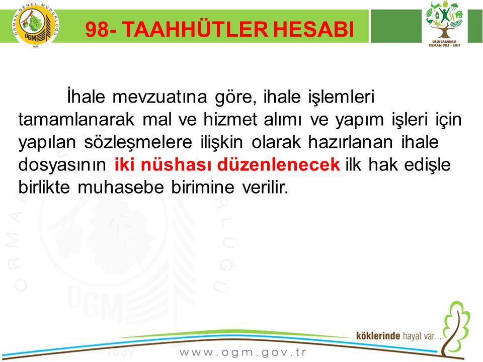 16/12/2010 Kurumsal Kimlik 54 98- TAAHHÜTLER HESABI İhale mevzuatına göre, ihale işlemleri tamamlanarak mal ve hizmet alımı ve yapım işleri için yapıl