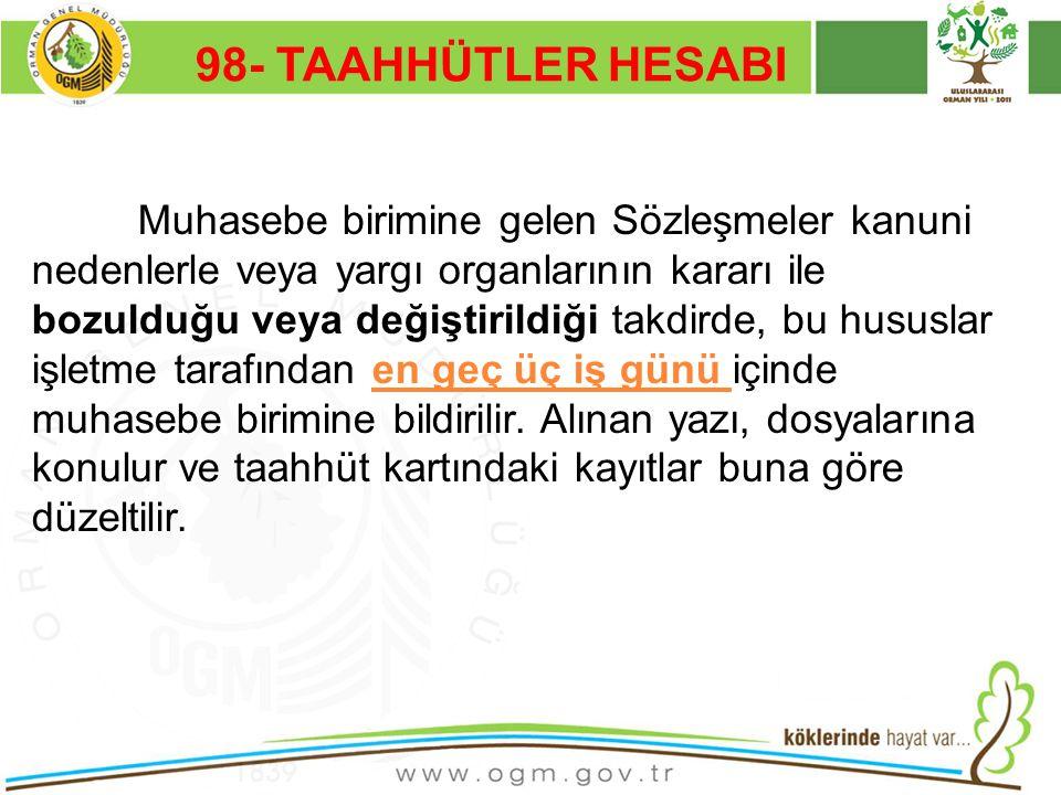 16/12/2010 Kurumsal Kimlik 55 98- TAAHHÜTLER HESABI Muhasebe birimine gelen Sözleşmeler kanuni nedenlerle veya yargı organlarının kararı ile bozulduğu