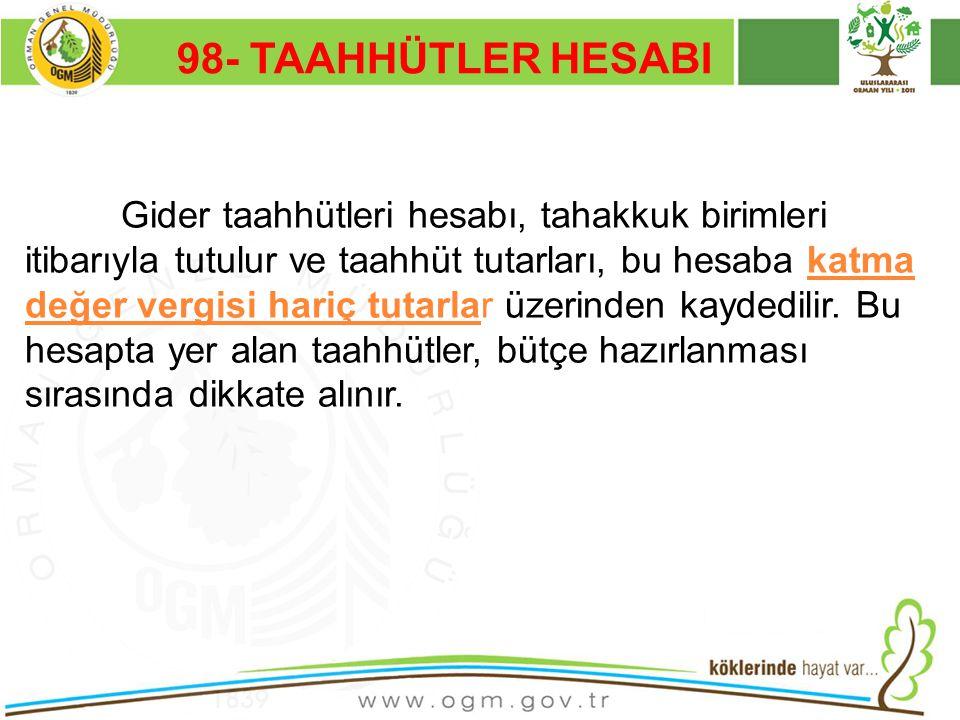 16/12/2010 Kurumsal Kimlik 56 98- TAAHHÜTLER HESABI Gider taahhütleri hesabı, tahakkuk birimleri itibarıyla tutulur ve taahhüt tutarları, bu hesaba ka