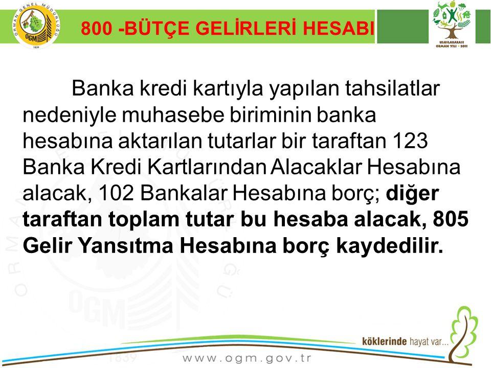 16/12/2010 Kurumsal Kimlik 7 800 -BÜTÇE GELİRLERİ HESABI Banka kredi kartıyla yapılan tahsilatlar nedeniyle muhasebe biriminin banka hesabına aktarıla