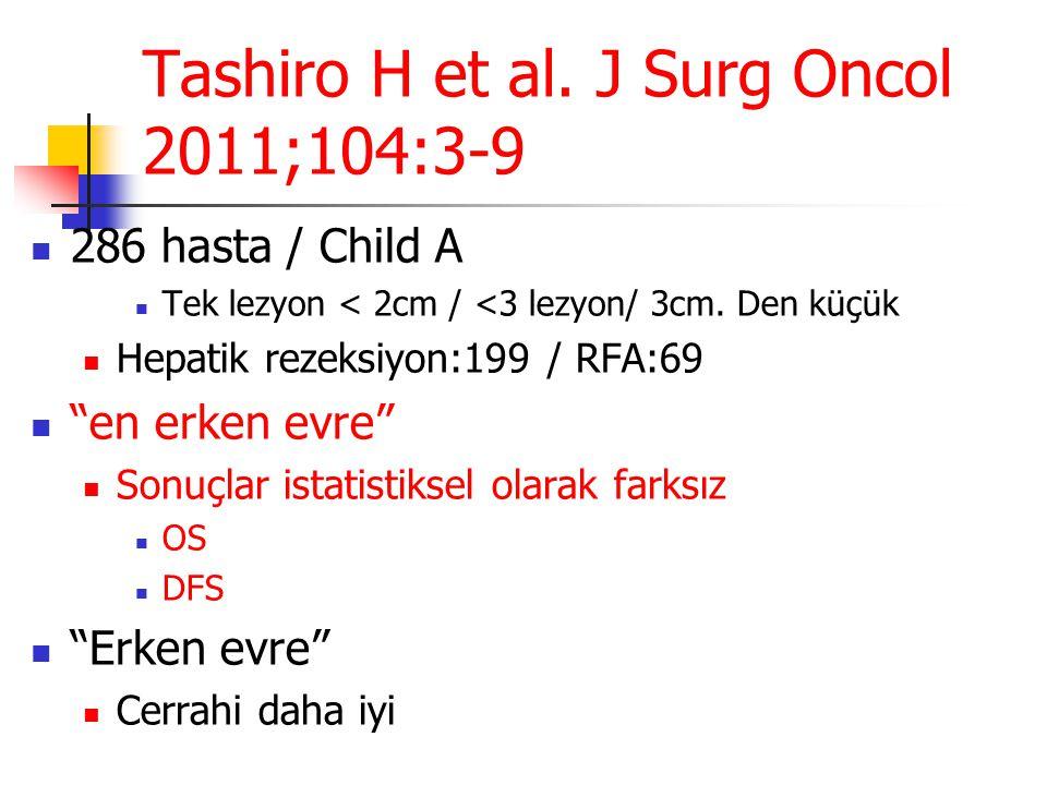 """Tashiro H et al. J Surg Oncol 2011;104:3-9  286 hasta / Child A  Tek lezyon < 2cm / <3 lezyon/ 3cm. Den küçük  Hepatik rezeksiyon:199 / RFA:69  """"e"""