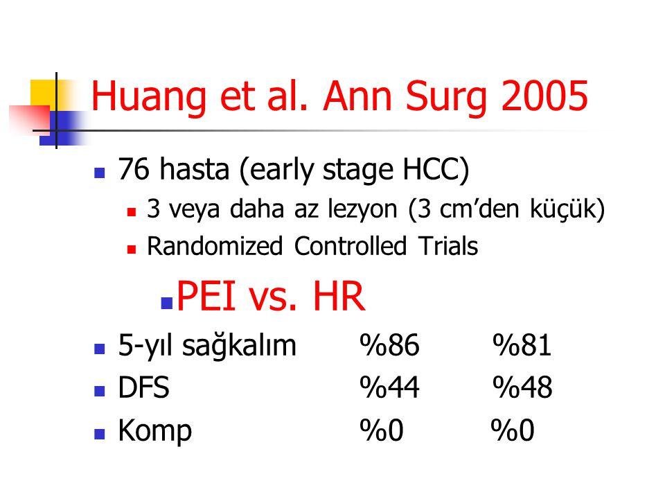 Huang et al. Ann Surg 2005  76 hasta (early stage HCC)  3 veya daha az lezyon (3 cm'den küçük)  Randomized Controlled Trials  PEI vs. HR  5-yıl s
