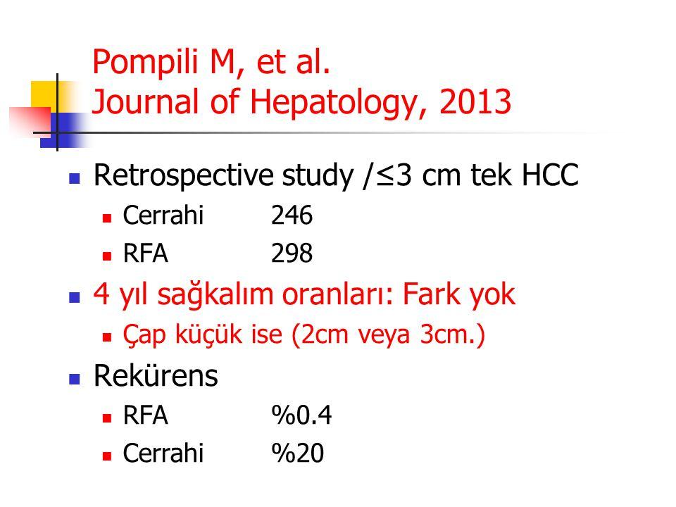 Pompili M, et al. Journal of Hepatology, 2013  Retrospective study /≤3 cm tek HCC  Cerrahi246  RFA298  4 yıl sağkalım oranları: Fark yok  Çap küç