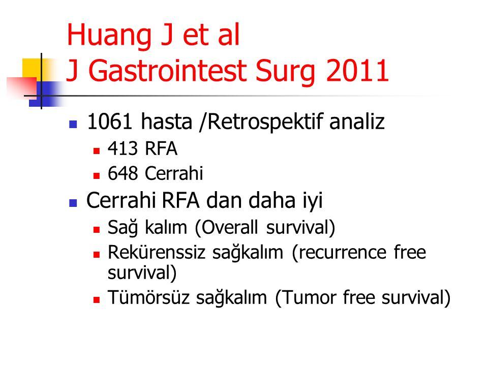 Huang J et al J Gastrointest Surg 2011  1061 hasta /Retrospektif analiz  413 RFA  648 Cerrahi  Cerrahi RFA dan daha iyi  Sağ kalım (Overall survi