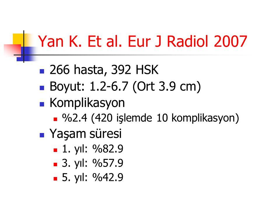 Yan K. Et al. Eur J Radiol 2007  266 hasta, 392 HSK  Boyut: 1.2-6.7 (Ort 3.9 cm)  Komplikasyon  %2.4 (420 işlemde 10 komplikasyon)  Yaşam süresi