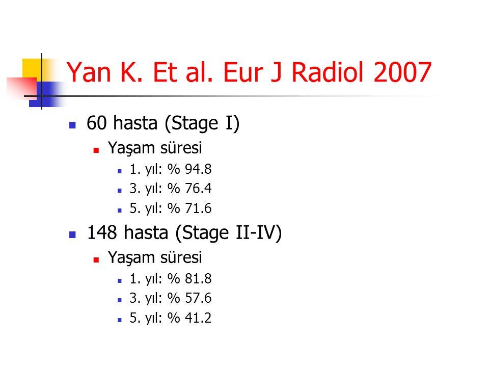 Yan K. Et al. Eur J Radiol 2007  60 hasta (Stage I)  Yaşam süresi  1. yıl: % 94.8  3. yıl: % 76.4  5. yıl: % 71.6  148 hasta (Stage II-IV)  Yaş