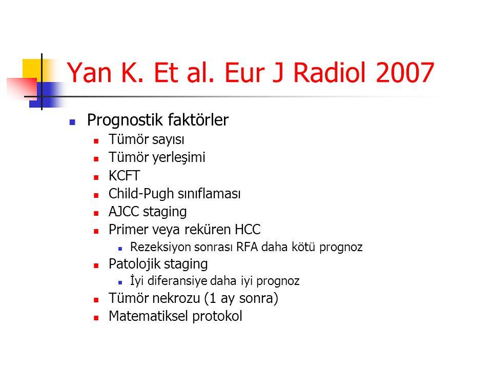 Yan K. Et al. Eur J Radiol 2007  Prognostik faktörler  Tümör sayısı  Tümör yerleşimi  KCFT  Child-Pugh sınıflaması  AJCC staging  Primer veya r