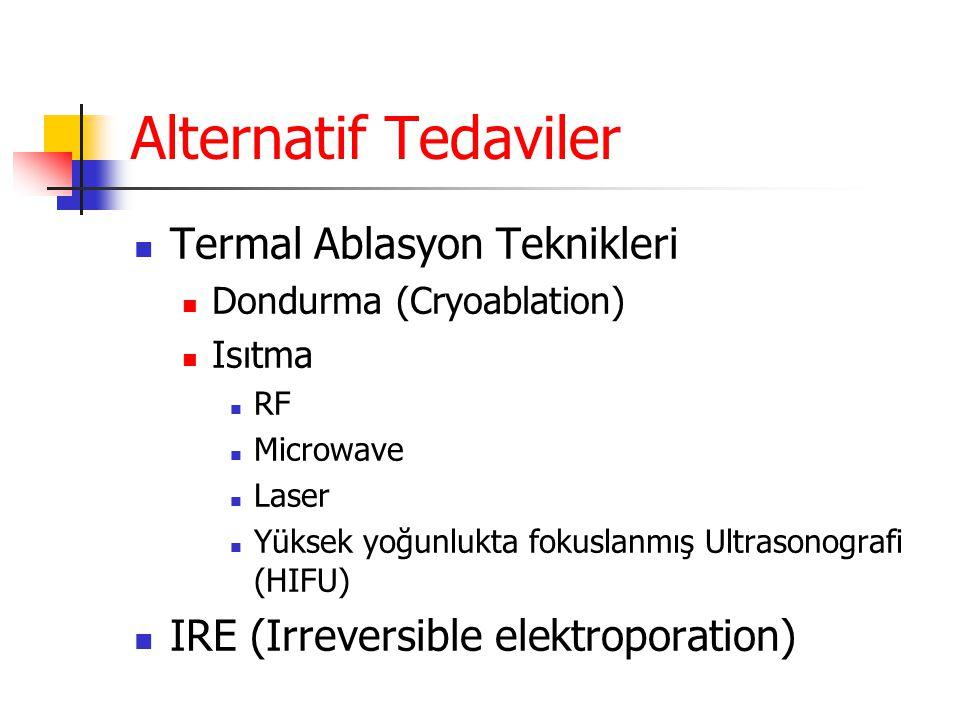 Alternatif Tedaviler  Termal Ablasyon Teknikleri  Dondurma (Cryoablation)  Isıtma  RF  Microwave  Laser  Yüksek yoğunlukta fokuslanmış Ultrason