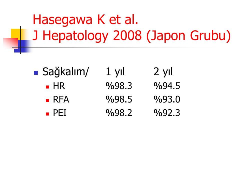 Hasegawa K et al. J Hepatology 2008 (Japon Grubu)  Sağkalım/ 1 yıl2 yıl  HR%98.3%94.5  RFA%98.5%93.0  PEI%98.2%92.3