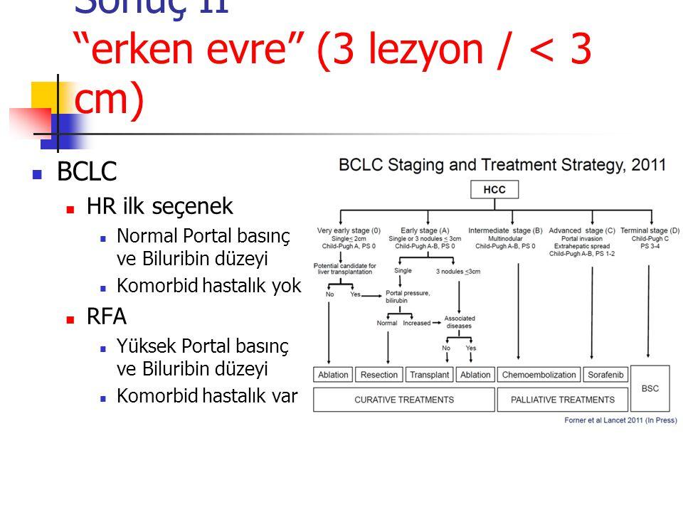 """Sonuç II """"erken evre"""" (3 lezyon / < 3 cm)  BCLC  HR ilk seçenek  Normal Portal basınç ve Biluribin düzeyi  Komorbid hastalık yok  RFA  Yüksek Po"""