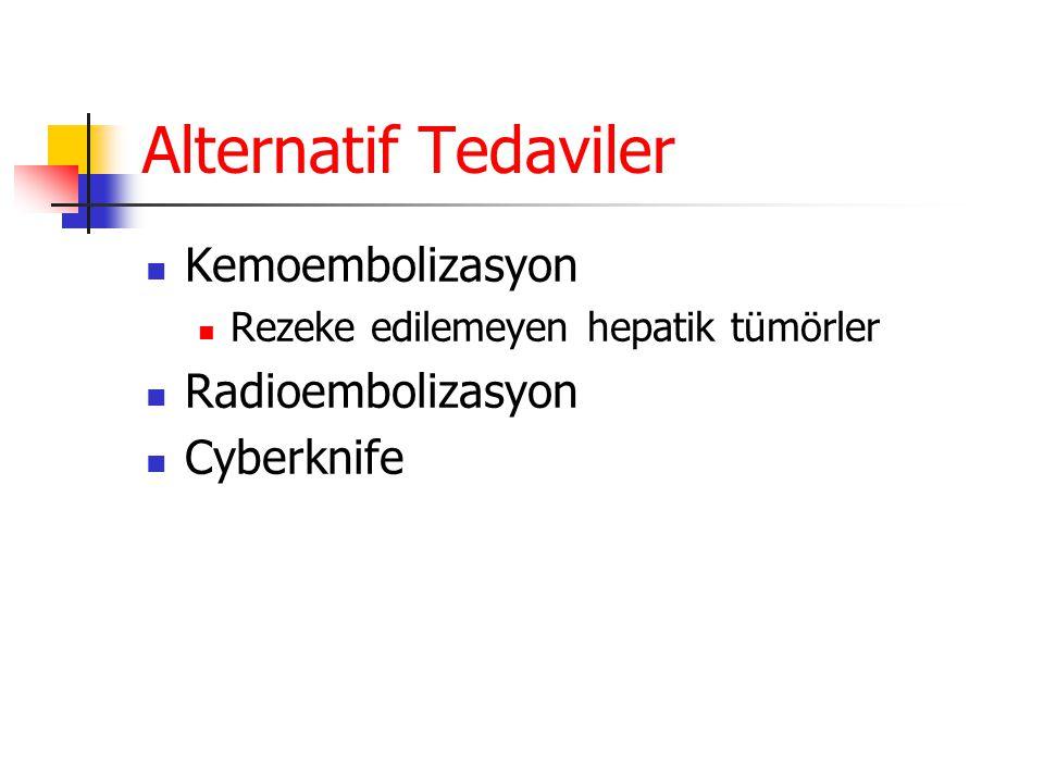 Alternatif Tedaviler  Kemoembolizasyon  Rezeke edilemeyen hepatik tümörler  Radioembolizasyon  Cyberknife