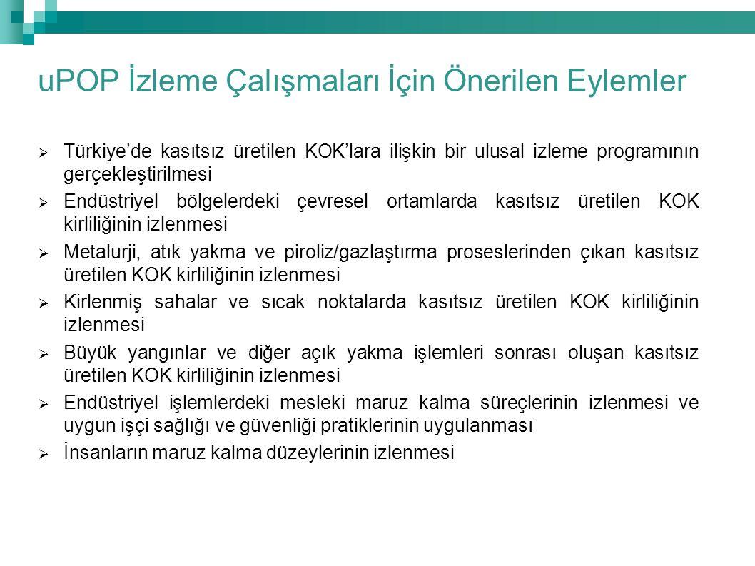  Türkiye'de kasıtsız üretilen KOK'lara ilişkin bir ulusal izleme programının gerçekleştirilmesi  Endüstriyel bölgelerdeki çevresel ortamlarda kasıts