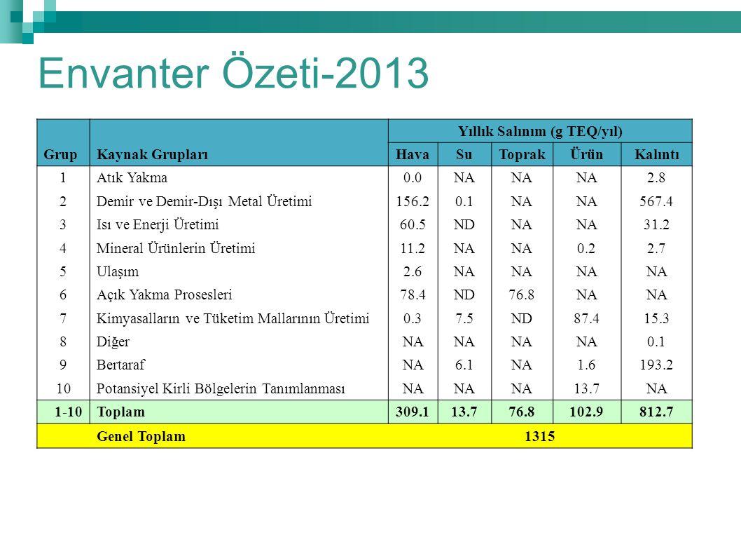 Envanter Özeti-2013 GrupKaynak Grupları Yıllık Salınım (g TEQ/yıl) HavaSuToprakÜrünKalıntı 1Atık Yakma0.0NA 2.8 2Demir ve Demir-Dışı Metal Üretimi156.