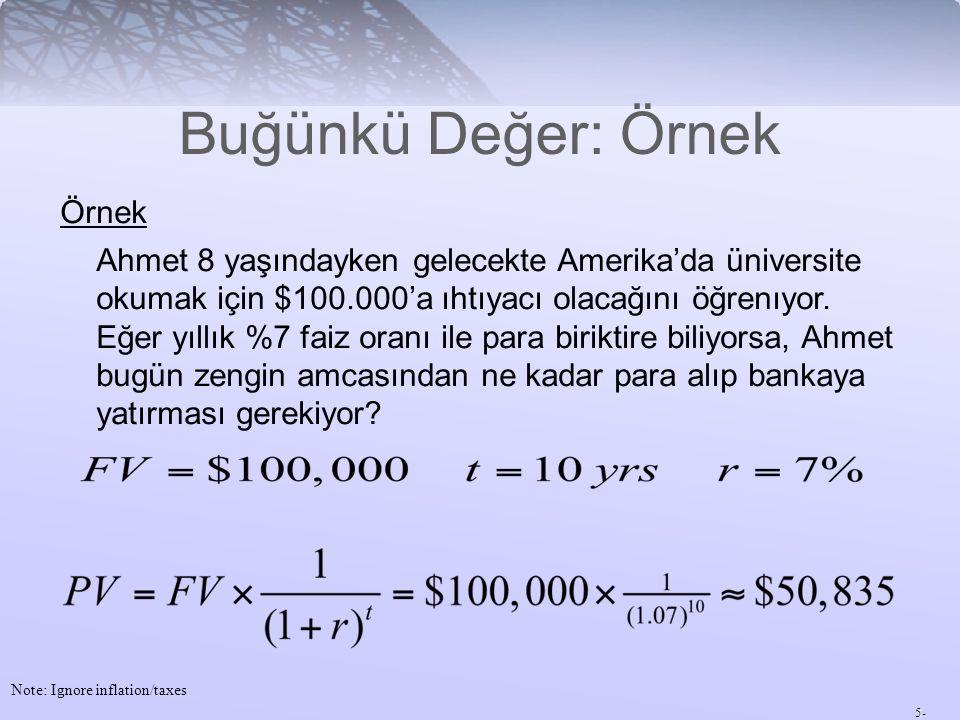 5- Buğünkü Değer: Örnek Note: Ignore inflation/taxes Örnek Ahmet 8 yaşındayken gelecekte Amerika'da üniversite okumak için $100.000'a ıhtıyacı olacağını öğrenıyor.