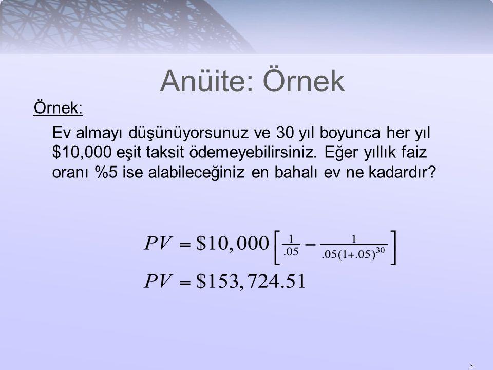 5- Anüite: Örnek Örnek: Ev almayı düşünüyorsunuz ve 30 yıl boyunca her yıl $10,000 eşit taksit ödemeyebilirsiniz.