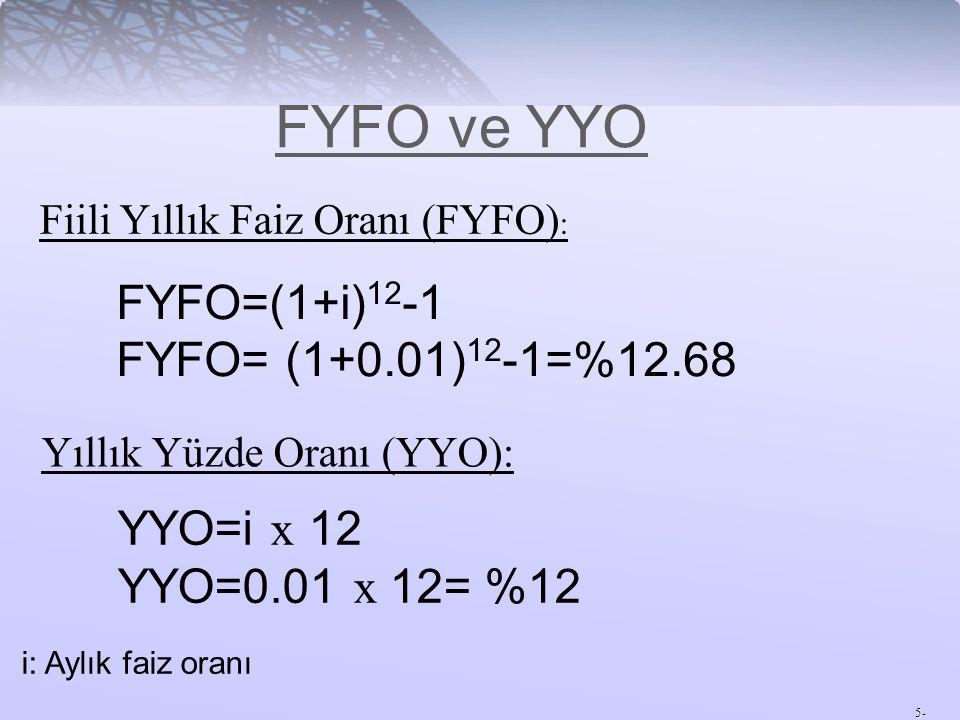 5- FYFO ve YYO Fiili Yıllık Faiz Oranı (FYFO) : Yıllık Yüzde Oranı (YYO): FYFO=(1+i) 12 -1 FYFO= (1+0.01) 12 -1=%12.68 YYO=i x 12 YYO=0.01 x 12= %12 i: Aylık faiz oranı