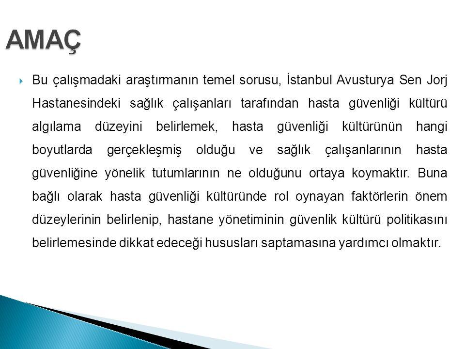  Bu çalışmadaki araştırmanın temel sorusu, İstanbul Avusturya Sen Jorj Hastanesindeki sağlık çalışanları tarafından hasta güvenliği kültürü algılama