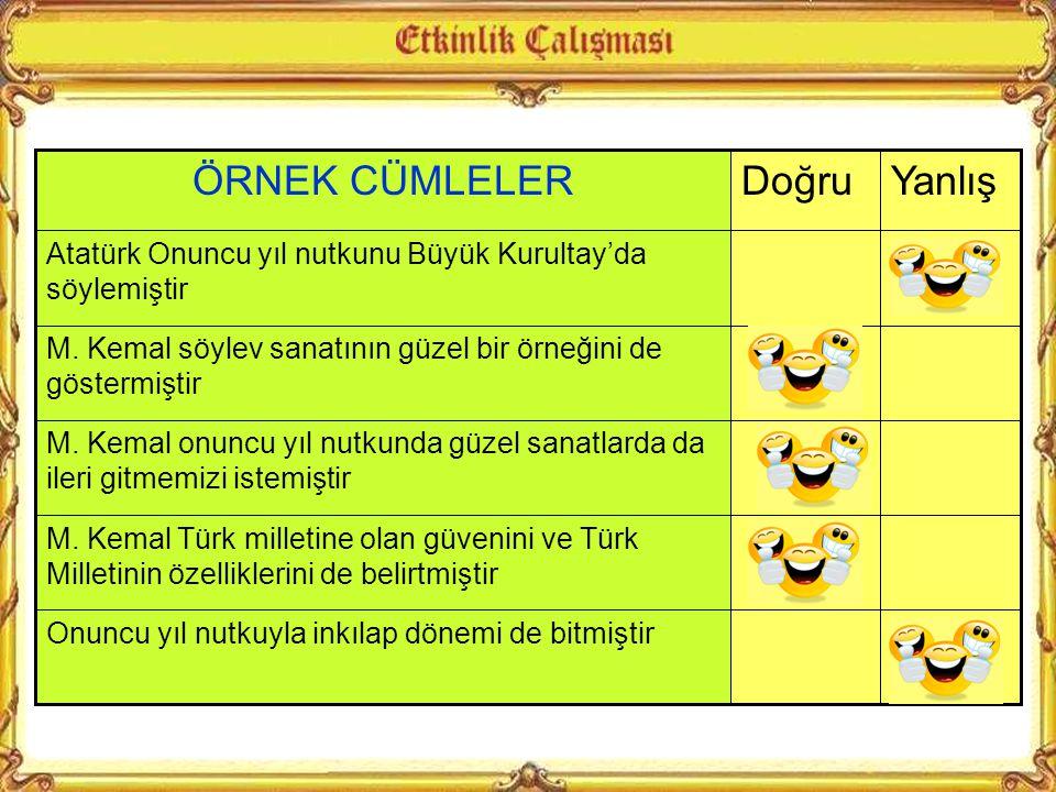 M. Kemal'in 29 Ekim 1933'teki konuşmasına Onuncu Yıl Nutku denmektedir. Onuncu Yıl nutkunda bahsettiği konulardan hangisi onun milletiyle övündüğünü v