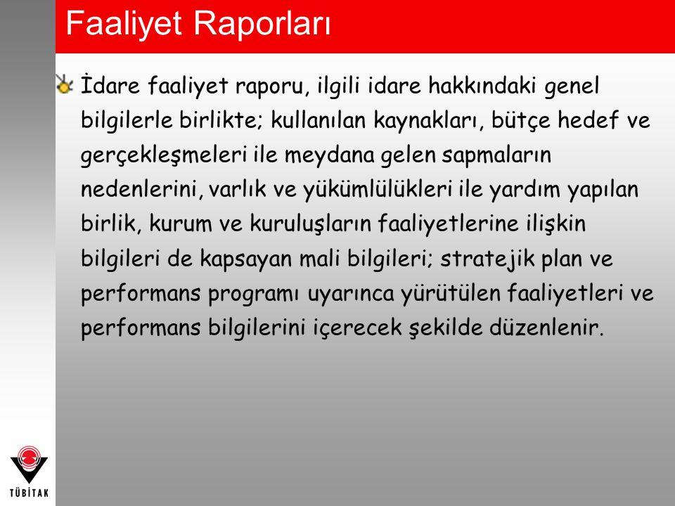 Faaliyet Raporları İdare faaliyet raporu, ilgili idare hakkındaki genel bilgilerle birlikte; kullanılan kaynakları, bütçe hedef ve gerçekleşmeleri ile
