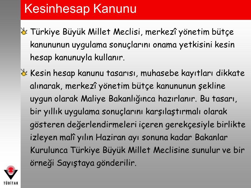 Kesinhesap Kanunu Türkiye Büyük Millet Meclisi, merkezî yönetim bütçe kanununun uygulama sonuçlarını onama yetkisini kesin hesap kanunuyla kullanır. K