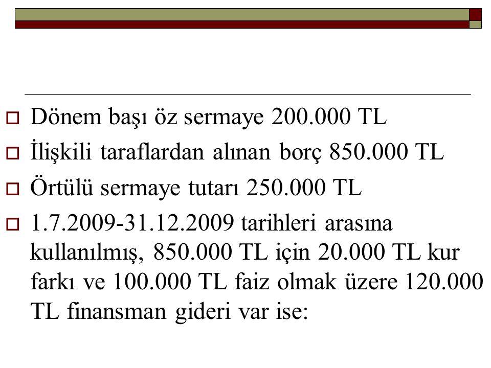  Dönem başı öz sermaye 200.000 TL  İlişkili taraflardan alınan borç 850.000 TL  Örtülü sermaye tutarı 250.000 TL  1.7.2009-31.12.2009 tarihleri ar
