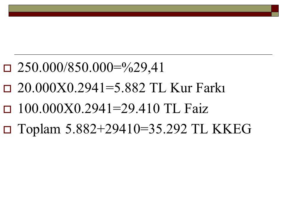  250.000/850.000=%29,41  20.000X0.2941=5.882 TL Kur Farkı  100.000X0.2941=29.410 TL Faiz  Toplam 5.882+29410=35.292 TL KKEG