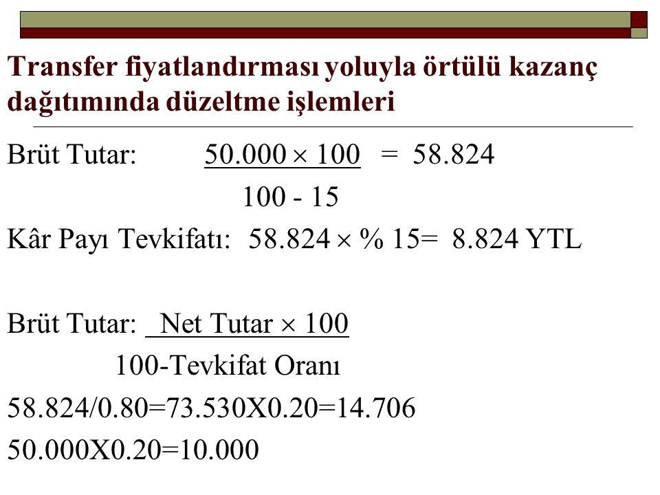 Transfer fiyatlandırması yoluyla örtülü kazanç dağıtımında düzeltme işlemleri Brüt Tutar: 50.000  100 = 58.824 100 - 15 Kâr Payı Tevkifatı: 58.824 