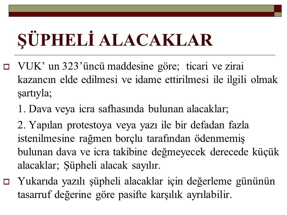 ŞÜPHELİ ALACAKLAR  VUK' un 323'üncü maddesine göre; ticari ve zirai kazancın elde edilmesi ve idame ettirilmesi ile ilgili olmak şartıyla; 1. Dava ve