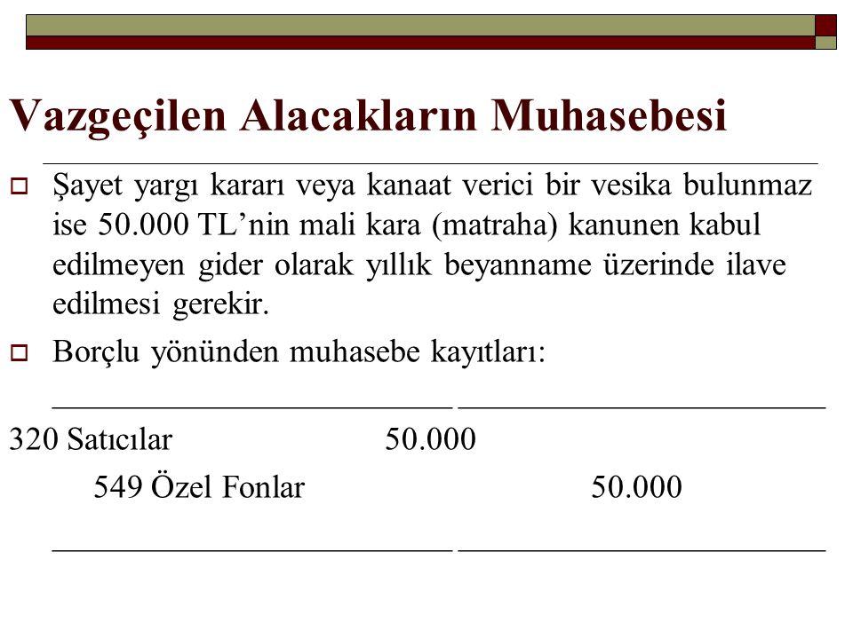Vazgeçilen Alacakların Muhasebesi  Şayet yargı kararı veya kanaat verici bir vesika bulunmaz ise 50.000 TL'nin mali kara (matraha) kanunen kabul edil
