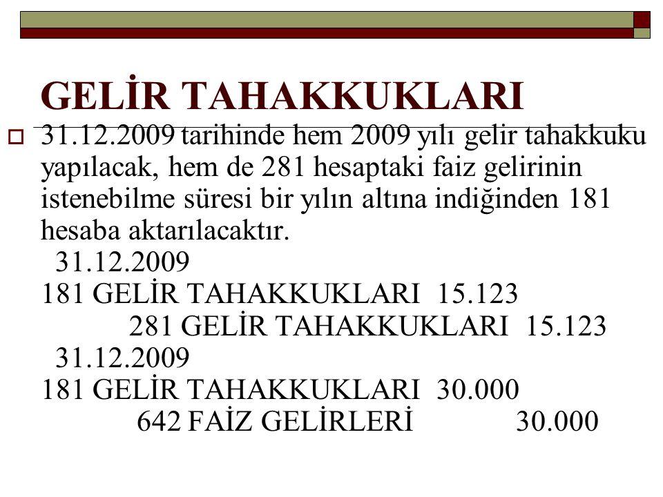 GELİR TAHAKKUKLARI Faiz tahsil edildiği tarihte (30.06.2010'da) aşağıdaki muhasebe kaydı yapılacaktır.(%15 stopaj, 181 gün) 102 BANKALAR 51.000 193 PEŞİN ÖD.