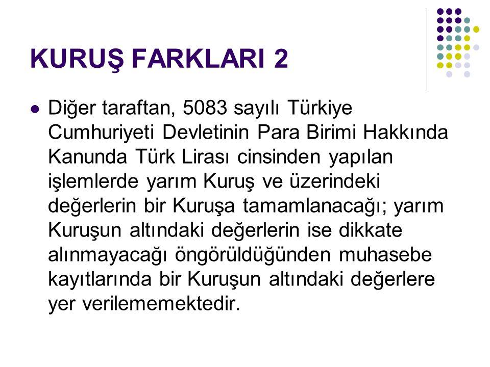 KURUŞ FARKLARI 2  Diğer taraftan, 5083 sayılı Türkiye Cumhuriyeti Devletinin Para Birimi Hakkında Kanunda Türk Lirası cinsinden yapılan işlemlerde ya