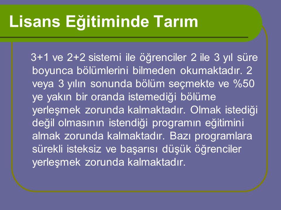 Lisans Eğitiminde Tarım 3+1 ve 2+2 sistemi ile öğrenciler 2 ile 3 yıl süre boyunca bölümlerini bilmeden okumaktadır.