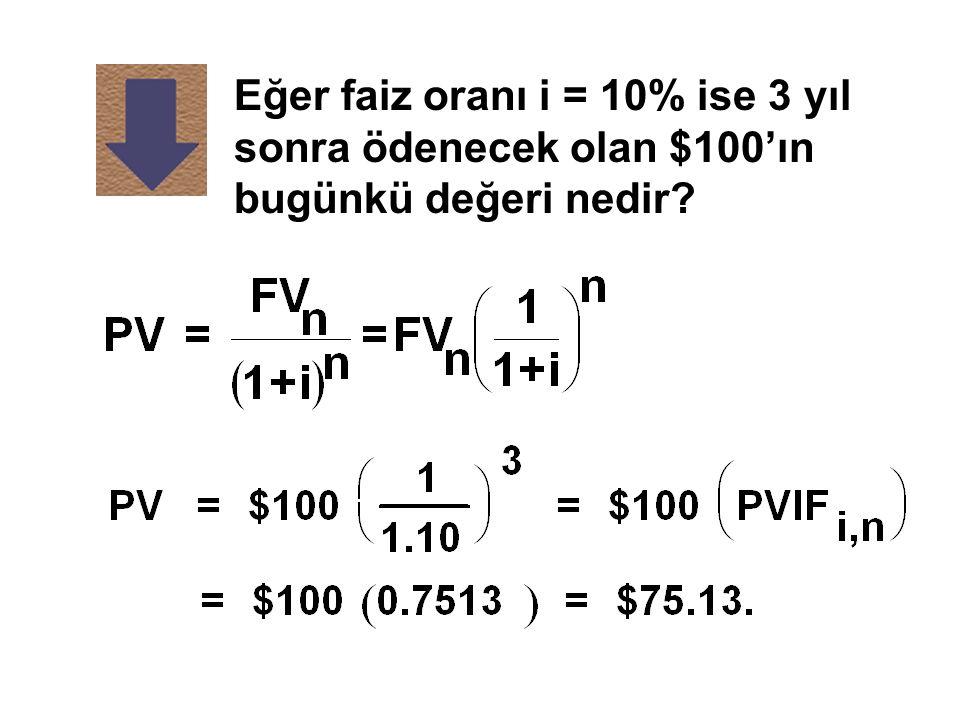Eğer faiz oranı i = 10% ise 3 yıl sonra ödenecek olan $100'ın bugünkü değeri nedir?