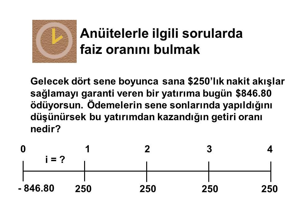 Anüitelerle ilgili sorularda faiz oranını bulmak 250 0123 i = ? - 846.80 4 250 Gelecek dört sene boyunca sana $250'lık nakit akışlar sağlamayı garanti