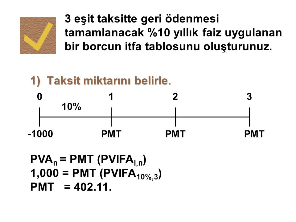 3 eşit taksitte geri ödenmesi tamamlanacak %10 yıllık faiz uygulanan bir borcun itfa tablosunu oluşturunuz. 1) Taksit miktarını belirle. PMT 0123 10%