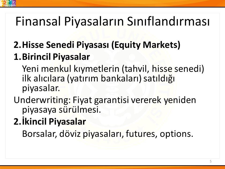 Finansal Piyasaların Sınıflandırması 2.Hisse Senedi Piyasası (Equity Markets) 1.Birincil Piyasalar Yeni menkul kıymetlerin (tahvil, hisse senedi) ilk alıcılara (yatırım bankaları) satıldığı piyasalar.