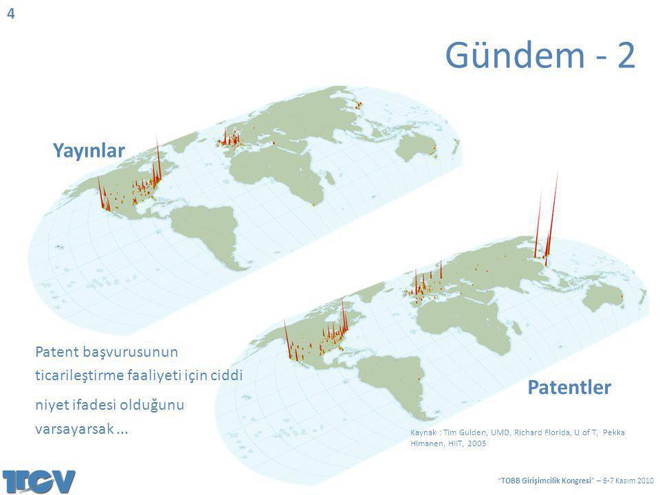 Kaynak : Tim Gulden, UMD, Richard Florida, U of T, Pekka Himanen, HIIT, 2005 Patentler Yayınlar Patent başvurusunun ticarileştirme faaliyeti için cidd