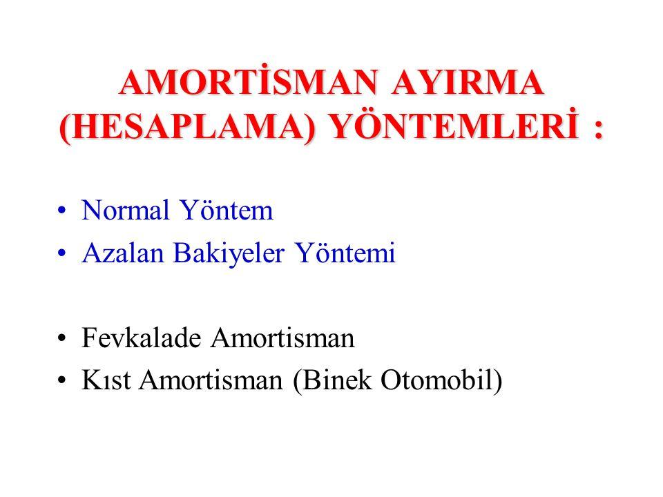 AMORTİSMAN AYIRMA (HESAPLAMA) YÖNTEMLERİ : •Normal Yöntem •Azalan Bakiyeler Yöntemi •Fevkalade Amortisman •Kıst Amortisman (Binek Otomobil)
