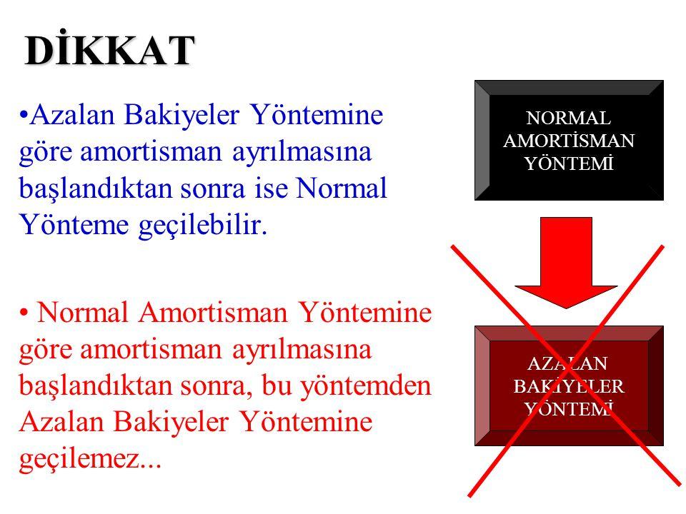 DİKKAT •Azalan Bakiyeler Yöntemine göre amortisman ayrılmasına başlandıktan sonra ise Normal Yönteme geçilebilir. • Normal Amortisman Yöntemine göre a