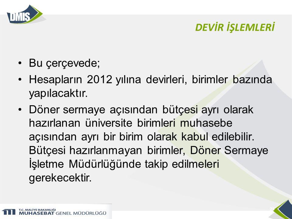 DEVİR İŞLEMLERİ •Bu çerçevede; •Hesapların 2012 yılına devirleri, birimler bazında yapılacaktır.