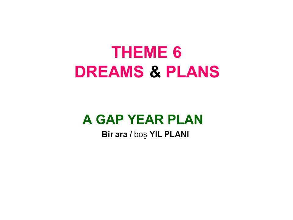 THEME 6 DREAMS & PLANS A GAP YEAR PLAN Bir ara / boş YIL PLANI